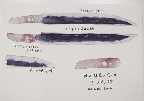水彩刀剣 短刀銘左:筑州住 号太閤左文字