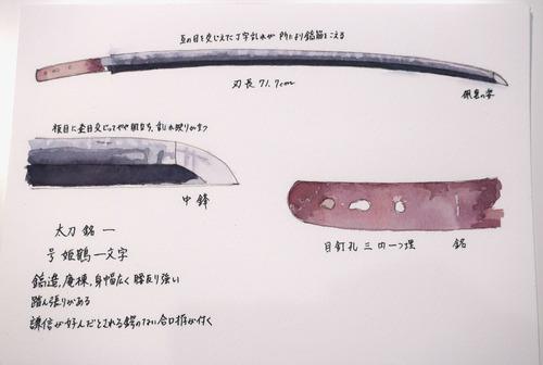 水彩刀剣 太刀銘一 号姫鶴一文字