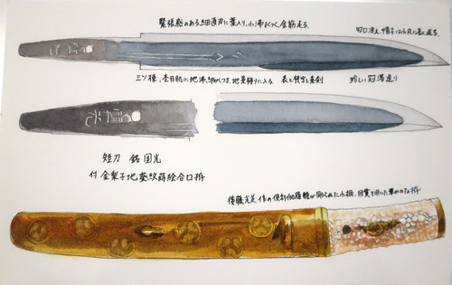 水彩刀剣 短刀銘国光 付金梨子地葵紋蒔絵合口拵